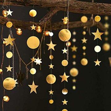 Queta 3x4m Sterne Runde Girlande Wunderschöne Papier Girlande Goldene Sterne Runde Bunting Banner Hangedekoration für Fenster,Wand,Kinderzimmer,Party,Geburtstag,Hochzeit,Weihnachten - 3