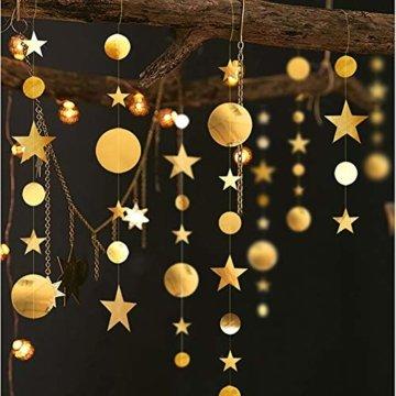 Queta 3x4m Sterne Runde Girlande Wunderschöne Papier Girlande Goldene Sterne Runde Bunting Banner Hangedekoration für Fenster,Wand,Kinderzimmer,Party,Geburtstag,Hochzeit,Weihnachten - 1