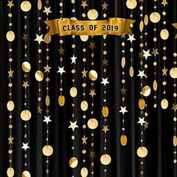Queta 3x4m Sterne Runde Girlande Wunderschöne Papier Girlande Goldene Sterne Runde Bunting Banner Hangedekoration für Fenster,Wand,Kinderzimmer,Party,Geburtstag,Hochzeit,Weihnachten - 5