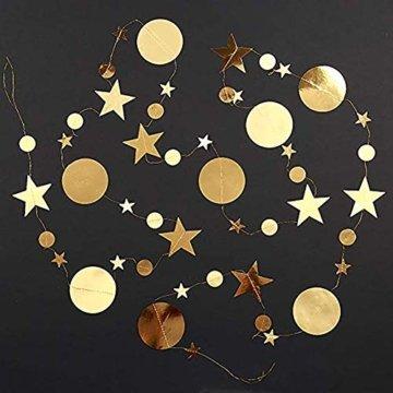 Queta 3x4m Sterne Runde Girlande Wunderschöne Papier Girlande Goldene Sterne Runde Bunting Banner Hangedekoration für Fenster,Wand,Kinderzimmer,Party,Geburtstag,Hochzeit,Weihnachten - 6