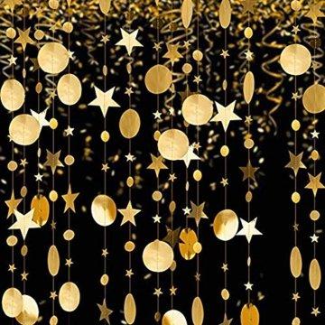 Queta 3x4m Sterne Runde Girlande Wunderschöne Papier Girlande Goldene Sterne Runde Bunting Banner Hangedekoration für Fenster,Wand,Kinderzimmer,Party,Geburtstag,Hochzeit,Weihnachten - 7