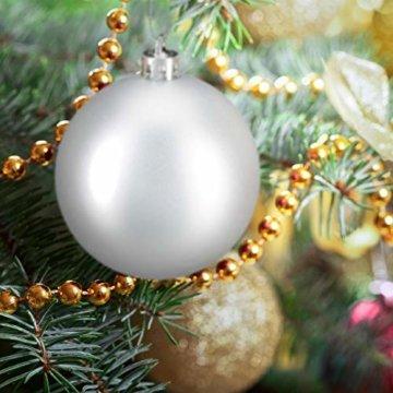 Relaxdays Weihnachtskugeln, 100er Set, Weihnachtsdeko, matt, glänzend, glitzernd, Christbaumkugel ∅ 3, 4 & 6 cm, Silber, PS, 7 x 6 x 6 cm - 3