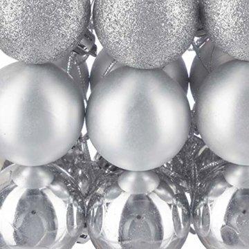 Relaxdays Weihnachtskugeln, 100er Set, Weihnachtsdeko, matt, glänzend, glitzernd, Christbaumkugel ∅ 3, 4 & 6 cm, Silber, PS, 7 x 6 x 6 cm - 5