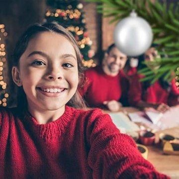 Relaxdays Weihnachtskugeln, 100er Set, Weihnachtsdeko, matt, glänzend, glitzernd, Christbaumkugel ∅ 3, 4 & 6 cm, Silber, PS, 7 x 6 x 6 cm - 6