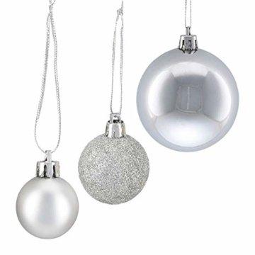Relaxdays Weihnachtskugeln, 100er Set, Weihnachtsdeko, matt, glänzend, glitzernd, Christbaumkugel ∅ 3, 4 & 6 cm, Silber, PS, 7 x 6 x 6 cm - 7