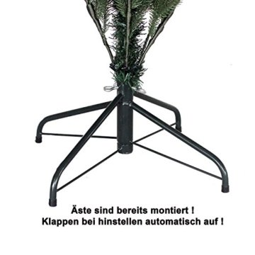 RS Trade HXT 1418 künstlicher PE Spritzguss Weihnachtsbaum 150 cm (Ø ca. 106 cm) mit ca. 2375 Spitzen, schwer entflammbarer Tannenbaum mit Schnellaufbau Klappsysem, inkl. Metall Christbaum Ständer - 2