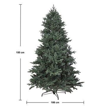 RS Trade HXT 1418 künstlicher PE Spritzguss Weihnachtsbaum 150 cm (Ø ca. 106 cm) mit ca. 2375 Spitzen, schwer entflammbarer Tannenbaum mit Schnellaufbau Klappsysem, inkl. Metall Christbaum Ständer - 5