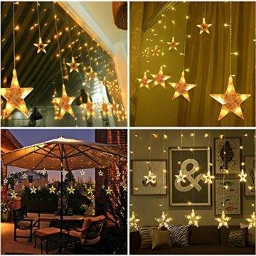 SALCAR LED Lichtervorhang 12 Sterne Lichterkette wasserdicht für Fenster, Garten, Haus, LED Sternenvorhang Dekorative, IR Fernbedienung LED Lichterkette 31V Sicherheitsnetzteil - Warmweiß - 2