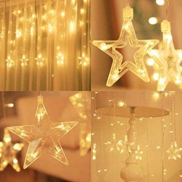 SALCAR LED Lichtervorhang 12 Sterne Lichterkette wasserdicht für Fenster, Garten, Haus, LED Sternenvorhang Dekorative, IR Fernbedienung LED Lichterkette 31V Sicherheitsnetzteil - Warmweiß - 4