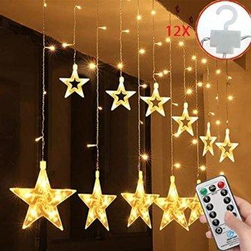 SALCAR LED Lichtervorhang 12 Sterne Lichterkette wasserdicht für Fenster, Garten, Haus, LED Sternenvorhang Dekorative, IR Fernbedienung LED Lichterkette 31V Sicherheitsnetzteil - Warmweiß - 1