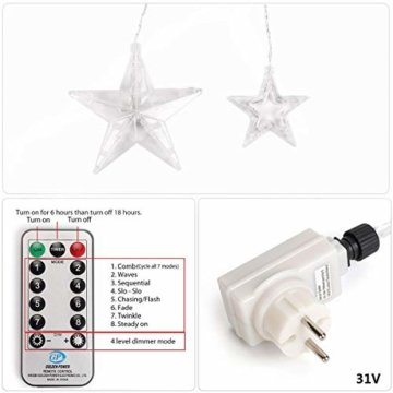 SALCAR LED Lichtervorhang 12 Sterne Lichterkette wasserdicht für Fenster, Garten, Haus, LED Sternenvorhang Dekorative, IR Fernbedienung LED Lichterkette 31V Sicherheitsnetzteil - Warmweiß - 5