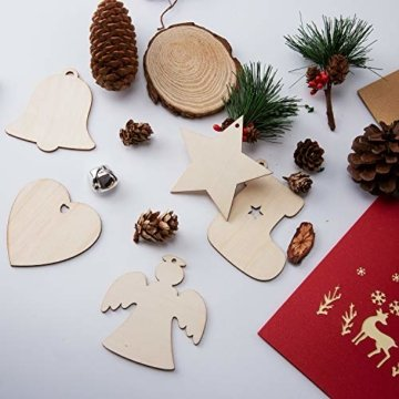 SAVITA 120 Stück Weihnachten Holzanhänger, 12 Stil Christbaumanhänger, Hängende Holzscheiben mit Seilen für Weihnachtsbaumschmuck Holz DIY Handwerk Hängende Dekorationen - 3