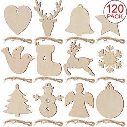 SAVITA 120 Stück Weihnachten Holzanhänger, 12 Stil Christbaumanhänger, Hängende Holzscheiben mit Seilen für Weihnachtsbaumschmuck Holz DIY Handwerk Hängende Dekorationen - 1