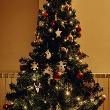 SAVITA 120 Stück Weihnachten Holzanhänger, 12 Stil Christbaumanhänger, Hängende Holzscheiben mit Seilen für Weihnachtsbaumschmuck Holz DIY Handwerk Hängende Dekorationen - 4