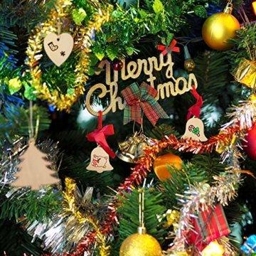 SAVITA 120 Stück Weihnachten Holzanhänger, 12 Stil Christbaumanhänger, Hängende Holzscheiben mit Seilen für Weihnachtsbaumschmuck Holz DIY Handwerk Hängende Dekorationen - 5