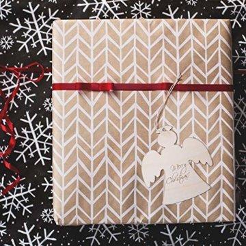 SAVITA 120 Stück Weihnachten Holzanhänger, 12 Stil Christbaumanhänger, Hängende Holzscheiben mit Seilen für Weihnachtsbaumschmuck Holz DIY Handwerk Hängende Dekorationen - 7