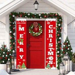 Sayala Willkommen &Frohen Weihnachten Banner,Frohe Weihnachten Girlande Banner Weihnachten Fensterdeko Kamin Bild Indoor Outdoor Partei Dekorationen - 1