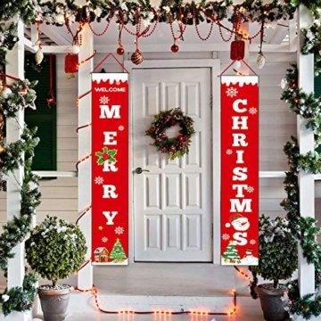 Sayala Willkommen &Frohen Weihnachten Banner,Frohe Weihnachten Girlande Banner Weihnachten Fensterdeko Kamin Bild Indoor Outdoor Partei Dekorationen - 4