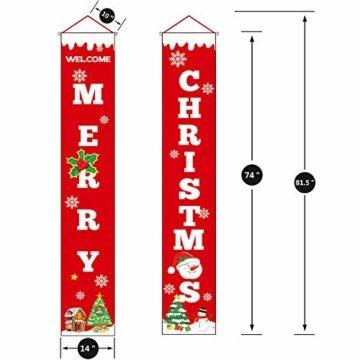 Sayala Willkommen &Frohen Weihnachten Banner,Frohe Weihnachten Girlande Banner Weihnachten Fensterdeko Kamin Bild Indoor Outdoor Partei Dekorationen - 5