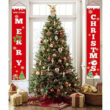 Sayala Willkommen &Frohen Weihnachten Banner,Frohe Weihnachten Girlande Banner Weihnachten Fensterdeko Kamin Bild Indoor Outdoor Partei Dekorationen - 6