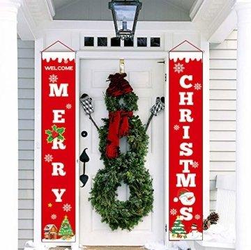 Sayala Willkommen &Frohen Weihnachten Banner,Frohe Weihnachten Girlande Banner Weihnachten Fensterdeko Kamin Bild Indoor Outdoor Partei Dekorationen - 7