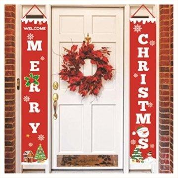Sayala Willkommen &Frohen Weihnachten Banner,Frohe Weihnachten Girlande Banner Weihnachten Fensterdeko Kamin Bild Indoor Outdoor Partei Dekorationen - 8