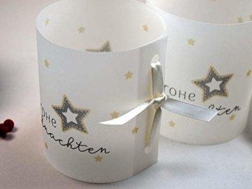 Set 6 x Lichthülle Frohe Weihnachten für Tischlicht für Teelicht oder LED Weihnachtsdeko Advent handmade - 2
