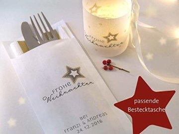 Set 6 x Lichthülle Frohe Weihnachten für Tischlicht für Teelicht oder LED Weihnachtsdeko Advent handmade - 3