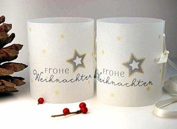 Set 6 x Lichthülle Frohe Weihnachten für Tischlicht für Teelicht oder LED Weihnachtsdeko Advent handmade - 1
