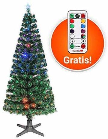 Smak Künstlicher Weihnachtsbaum-Glasfaserleuchtender selbst drehender - Länge 180cm und 210cm - Grün mit LED-farbwechselnden Modus Fernbedienung - 4