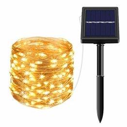 Solar Lichterkette Außen Fohil 10M 100 LED Lichterketten Aussen, Wasserdicht Kupferdraht Weihnachtsbeleuchtung Warmweiß Lichterkette für Balkon, gartendeko, Bäume, Terrasse, Hochzeiten, Partys - 1