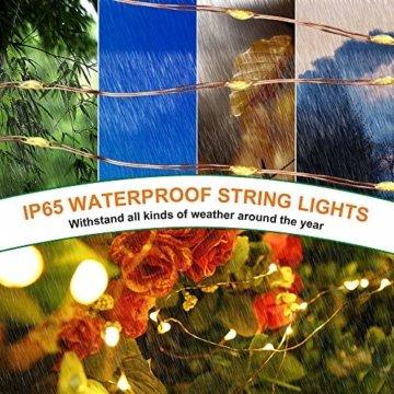 Solar Lichterkette Außen Fohil 10M 100 LED Lichterketten Aussen, Wasserdicht Kupferdraht Weihnachtsbeleuchtung Warmweiß Lichterkette für Balkon, gartendeko, Bäume, Terrasse, Hochzeiten, Partys - 4