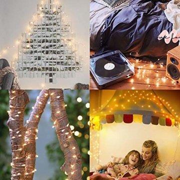 Solar Lichterkette Außen Fohil 10M 100 LED Lichterketten Aussen, Wasserdicht Kupferdraht Weihnachtsbeleuchtung Warmweiß Lichterkette für Balkon, gartendeko, Bäume, Terrasse, Hochzeiten, Partys - 6