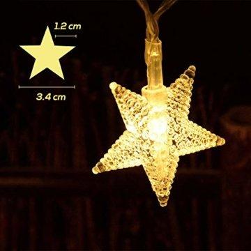Sterne Lichterkette Galaxer 40 Stücke LED Stern Nacht Weihnachten String Lichter 20Ft / 6M Monochrome Modus Warmweiß Dekoration Licht zum Geburtstag oder Urlaub Party - 2