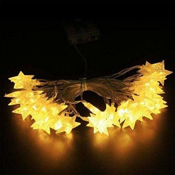 Sterne Lichterkette Galaxer 40 Stücke LED Stern Nacht Weihnachten String Lichter 20Ft / 6M Monochrome Modus Warmweiß Dekoration Licht zum Geburtstag oder Urlaub Party - 3