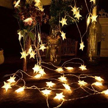 Sterne Lichterkette Galaxer 40 Stücke LED Stern Nacht Weihnachten String Lichter 20Ft / 6M Monochrome Modus Warmweiß Dekoration Licht zum Geburtstag oder Urlaub Party - 4