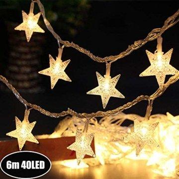 Sterne Lichterkette Galaxer 40 Stücke LED Stern Nacht Weihnachten String Lichter 20Ft / 6M Monochrome Modus Warmweiß Dekoration Licht zum Geburtstag oder Urlaub Party - 1