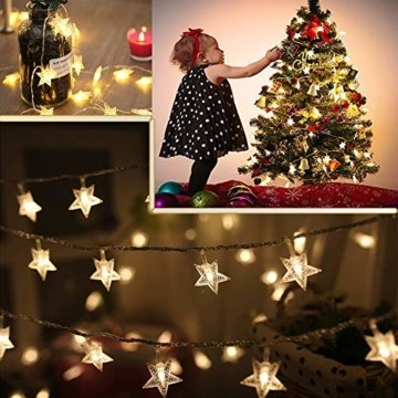 Sterne Lichterkette Galaxer 40 Stücke LED Stern Nacht Weihnachten String Lichter 20Ft / 6M Monochrome Modus Warmweiß Dekoration Licht zum Geburtstag oder Urlaub Party - 5