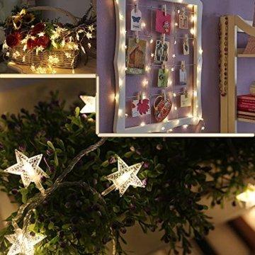 Sterne Lichterkette Galaxer 40 Stücke LED Stern Nacht Weihnachten String Lichter 20Ft / 6M Monochrome Modus Warmweiß Dekoration Licht zum Geburtstag oder Urlaub Party - 6