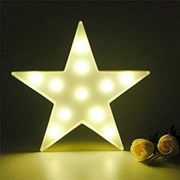 Süße LED Nachtlichter Stimmungslicht Schreibtischlampen Babyzimmer Kinderzimmer Dekorationen Geschenke (Stern, Weiß) - 1