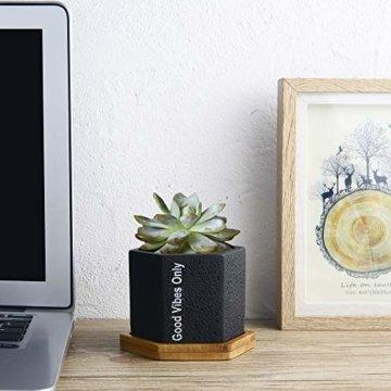 Sukkulenten-Übertopf, Kaktus-Topf, 7 cm, für Sukkulenten, Kräuter, Mini-Blumen, Pflanzen, Bambus-Tablett, 3er-Set - 3