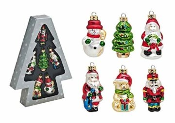 Tannenbaumschmuck Christbaumschmuck 6-teilig Nussknacker, Schneemann, Tannenbaum, Nikolaus, Weihnachtsbär - 1