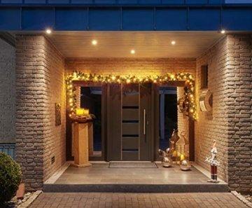 Tannengirlande 5 Meter mit 80 warm-weißen LED, strombetrieben, inkl. 10 Meter Zuleitung, für Innen & Außen geeignet, künstliche Girlande mit Beleuchtung - 2