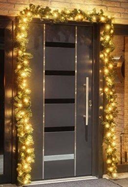 Tannengirlande 5 Meter mit 80 warm-weißen LED, strombetrieben, inkl. 10 Meter Zuleitung, für Innen & Außen geeignet, künstliche Girlande mit Beleuchtung - 1