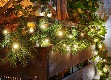 Tannengirlande 5 Meter mit 80 warm-weißen LED, strombetrieben, inkl. 10 Meter Zuleitung, für Innen & Außen geeignet, künstliche Girlande mit Beleuchtung - 6