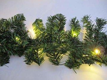 Tannengirlande 5 Meter mit 80 warm-weißen LED, strombetrieben, inkl. 10 Meter Zuleitung, für Innen & Außen geeignet, künstliche Girlande mit Beleuchtung - 7