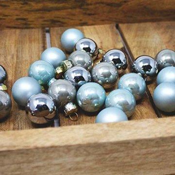 ToCi Mini Weihnachtskugeln aus Glas in hellblau und Silber kleine Christbaumkugeln 24ger Set - 3