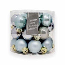 ToCi Mini Weihnachtskugeln aus Glas in hellblau und Silber kleine Christbaumkugeln 24ger Set - 1