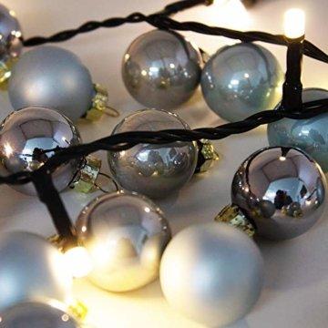 ToCi Mini Weihnachtskugeln aus Glas in hellblau und Silber kleine Christbaumkugeln 24ger Set - 4