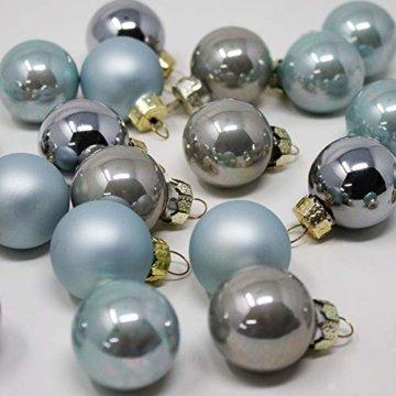 ToCi Mini Weihnachtskugeln aus Glas in hellblau und Silber kleine Christbaumkugeln 24ger Set - 5